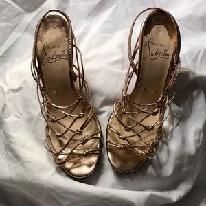Christian Louboutin Rose Gold Strappy Heels Size 7